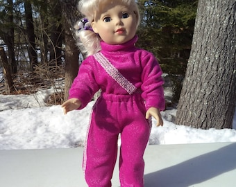 "18""  fuchsia doll jogging suit, hot pink jogging suit,  doll fuchsia jogging suit, hot pink turtleneck top, fuchsia jogging suit, 2 pieces"