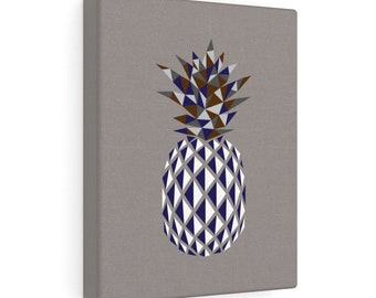 Pointy Pineapple Print On Canvas  Gray