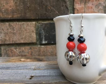 Silver Striped Earrings with Red and Black Accents