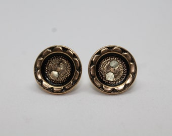 Bronze and Black Flower Vintage Button Stud Earrings