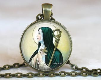 Saint Brigid of Ireland Pendant - Catholic Jewelry, Catholic Saint Necklace -Patron Saint Necklace, Patron Saint of Blacksmiths, Students