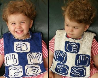 "Reversible baby bib (""Rock, Paper, Scissors, Lizard, Spock"") knitting pattern (PDF)"