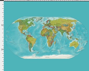 Map Fabric - map of the World - modern map  - yardage - sewing, crafting, quilting supplies, pillows, pinboard,