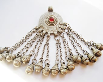 Vintage Bedouin Pendant Maria Theresa Thaler Coin Pendant with Bell Dangles