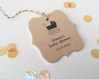 Brown kraft baby carriage tags - Personalized baby shower tags - Rustic thank you favor tag - Black baby carriage tags - Set of 12 (TB07k)