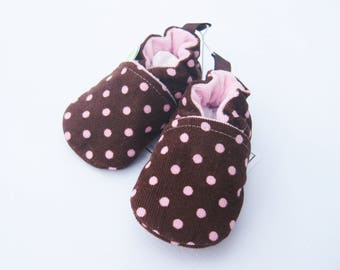 SALE XS Classic Corduroy Polka Dots in Pink and Brown  / All Fabric Soft Sole Baby Shoes / Ready to Ship / Babies