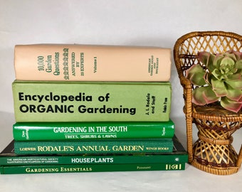 Vintage Gardening Books, Set of 6 Garden Books, House Plants, Organic Gardening, Flower Encyclopedia, Houseplants & Indoor Gardens