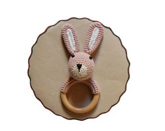 Baby Teething Toy, Crochet Bunny Teether, Crochet Rabbit Teether, Wooden Teething Ring, Crochet Teething Ring, Baby Shower Gift