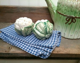 Cute Fitz and Floyd vintage Cauliflower Salt and Pepper shakers made in Japan Vegetable Majolica Farmhouse Kitchen Decor