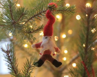 Needle Felted Gnome Waldorf Inspired Christmas Decoration and Natural Toys