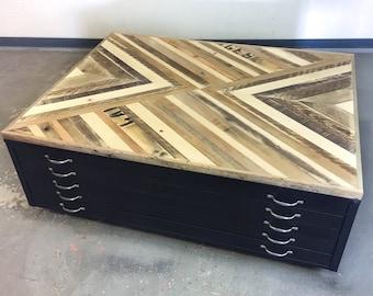 Reclaimed Wood x Vintage Flat File 5 Drawer Cabinet Free Ship