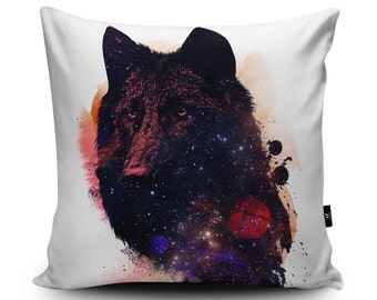 Space Wolf Vegan Cushion by Robert Farkas | Galaxy Wolf Pillow | Handmade Planets and Stars Wolf Cushion | Space Bedding | Kid's Art Cushion