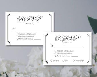 Wedding RSVP Template, Wedding Response Card Printable, Black & White Elegant rsvp, DIY Instant Download, Editable Wedding Invitation