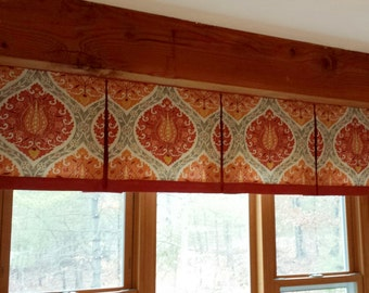 "BOX PLEATED Hidden Rod Pocket® Valance, banded lower edge, fits 61"" - 80"" window, constructed using your fabrics my LABOR and lining"