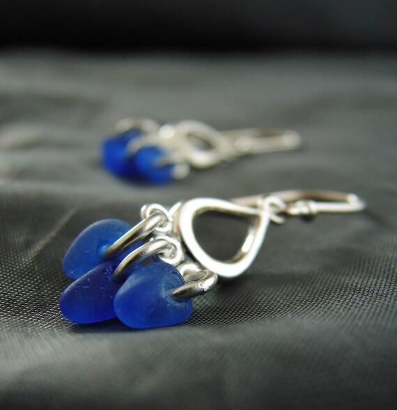 Drench sea glass earrings in blue