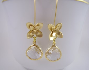 Gold Crystal Floral Earrings - Gold Crystal Drop Bridal Earrings -Bridal Earrings-Gift Ideas for Girlfriends - Bridal Jewellery - For Moms