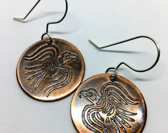Copper Ragnar Raven Banner Etched Earrings - Huginn & Muninn - Odin's Ravens Viking Norse Heathen Asatru