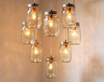 Heart Shaped Mason Jar Chandelier - Romantic Country Wedding Hanging Lighting Fixture - Rustic Modern Industrial BootsNGus Lamp Design