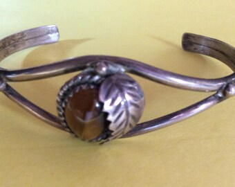 Native American Silver Cuff Bracelet with Tigers Eye Stone