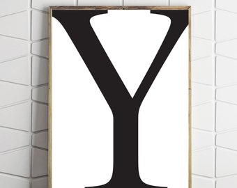 typography decor, printable y letter art, y name art print, y typography art, instant download y, name letter art