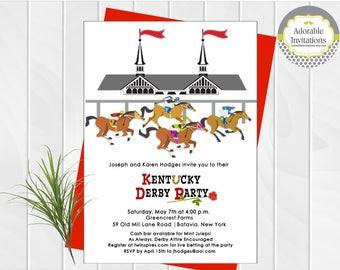 Kentucky Derby  Party Invitation,  Run for the Roses Invitation, Horse Race, Churchill Downs, Race Track, Jockeys, Printable