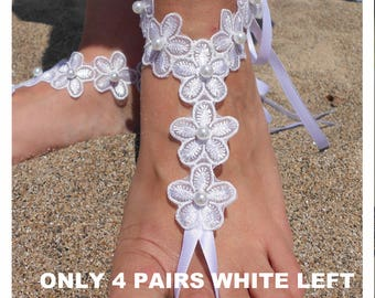 Bridal Lace Barefoot Sandals, Beach Wedding Barefoot Sandals, White Lace Barefoot Sandals, Ivory Lace Barefoot Sandals, Beach Wedding Shoes