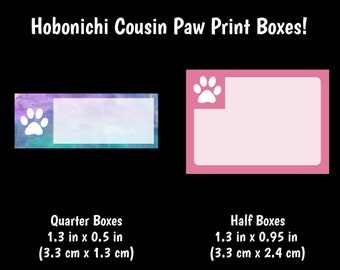 350 | Hobonichi Cousin Paw Print Boxes {14+ Fancy Matte or Glossy Planner Stickers}