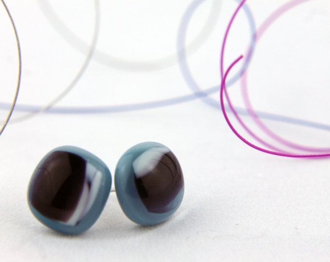Light steel blue, purple and white Stud Earrings,  Fused Glass Earrings, 13mm