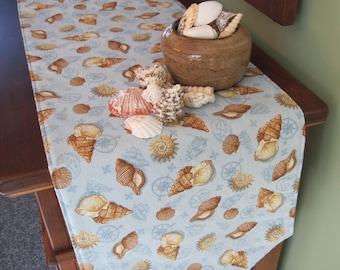 "54 72"" Blue Beige Coastal Living Table Runner Reversible Beachcomber Table Runner Sea Shell Table Runner Coastal Living Decor Seashell Decor"