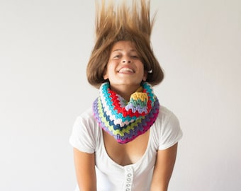 Sales Crochet neckwarmer multicolored cowl knit collar crochet cowl colored cowl teen circle scarf scarflette