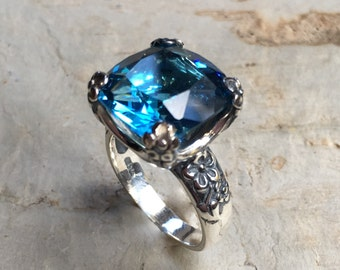Cushion cut blue quartz ring, Statement ring, Floral Silver Ring, alternative engagement ring, large stone ring - Hello spring R2272-5