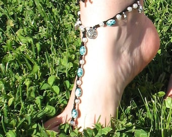 Crochet Barefoot Sandals Beach Yoga Wedding Shoes Foot Jewelry Green Silver Fashion Moda Sandals Anklet Bracelet