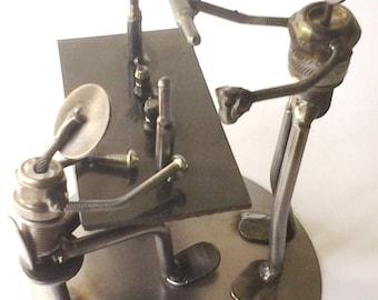 Bartender customer bar figurine scrap metal art