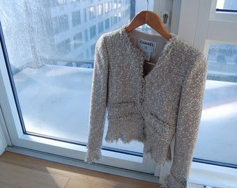 Chanel Tweed Jacket Blazer size 34 or XS RARE