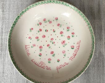 Plate name children baby pink and green