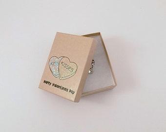 Valentine's Day Candy Kisses Stamped Kraft Box Jewelry Box Gift Box Glitter Hearts Gift Box