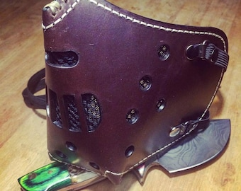 "Leather MasK ""killer bug"" [Hannibal] by SanDiegoChopper (Brown stitching leather Beige)"