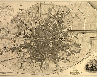 Plan of Greater Dublin including Circular Roads, 1797. Reproduction Vintage Map.  Available in different size.