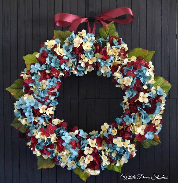 Red White and Blue Blended Hydrangea Patriotic Summer Front Door Wreath