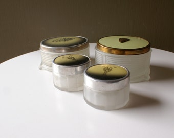Lot of 4 Vintage Dresser Jars - Art Deco Style Boxes - Glass Jewelry Container - Jewelry Display Box - Boudoir Jar