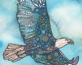 BALD EAGLE 5 x 7 print of detailed watercolour artwork in turquoise olive green aqua blue and rustic earth tones
