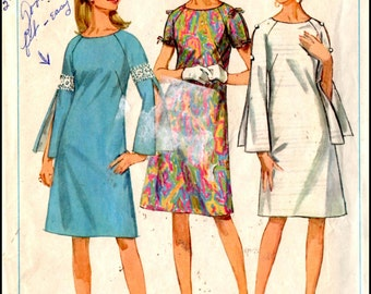 """Simplicity 7006  Misses' One Piece Dress with Three Sleeves  Bust 32"""""""