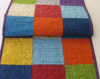 """Quilted Table Runner, Patchwork Table Runner, Kitchen And Dining, Table Runner, Modern Table Runner, Home Decor, 14"""" X 33"""", Table Topper"""