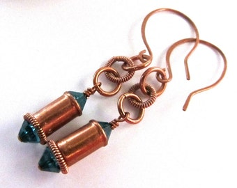 cylinder copper tubes  -  turquoise crystal EARRINGS  -  totally uinique OOAK - other colors available - just ask