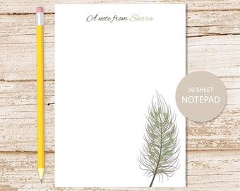 personalized notepad . quill feather notepad, note pad . choose feather color . personalized stationery . stationary gift