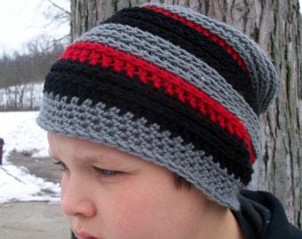 Slouchy Beanie, Striped Hat, Crochet Slouch Hat, Winter Hat, Tam, Boy's Beanie