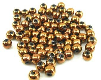 30 metallic glass beads 6 mm copper