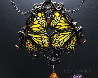 Butterfly necklace Art Nouveau necklace Amber necklace Vintage necklace Insect necklace Art necklace Butterfly jewelry Polymer clay jewelry
