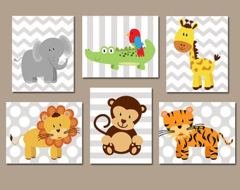Safari Jungle ANIMALS Wall Art, Jungle Safari Animals Decor, Zoo Animal Pictures, Boy Safari Animal Nursery Decor, CANVAS or Print, Set of 6