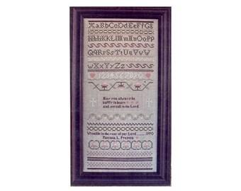 Happy in Heart Cross Stitch Sampler, Sampler Cross Stitch Pattern, Samplers, Christian Cross Stitch, Religious Sampler, by NewYorkTreasures